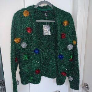 Green Tinsel Christmas Cardigan
